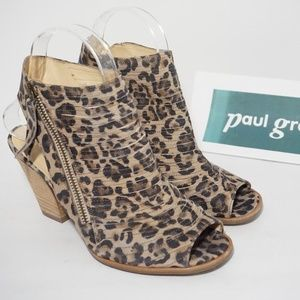 Paul Green Peep Toe Heeled Sandal Leopard Suede